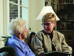 Senior woman with counselor
