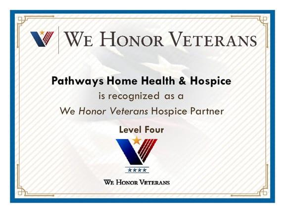 We Honor Veterans - Level Three Certificate
